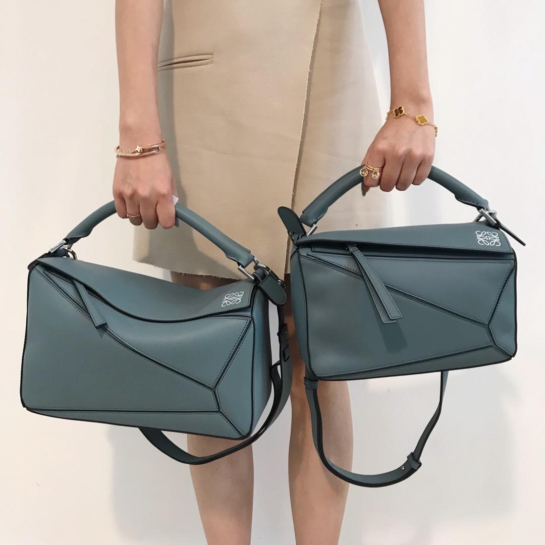 Copy Loewe Puzzle Bag 29cm and 24cm Sand Soft Grained Calf Blue