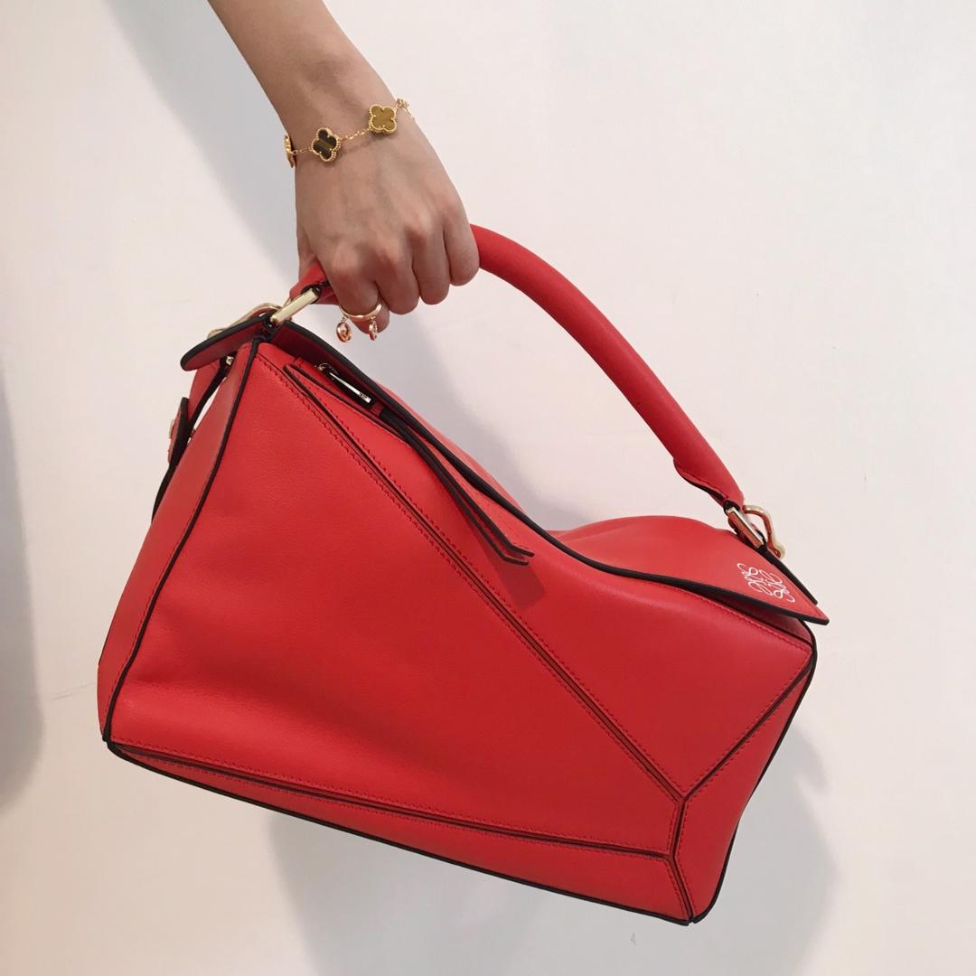 Copy Loewe Puzzle Bag 29cm and 24cm Sand Soft Grained Calf Red