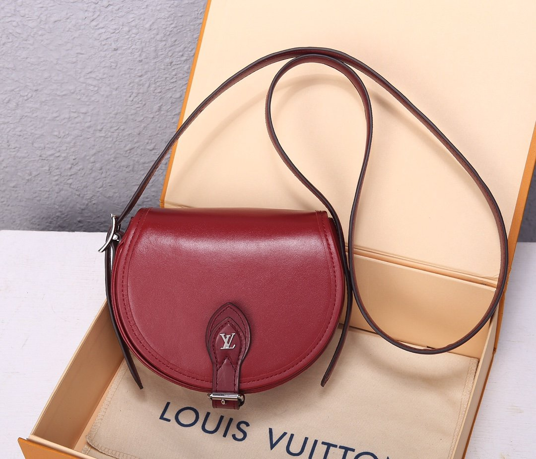 Copy Louis Vuitton M55506 Tambourin Handbag Smooth Calf Leather Rouge