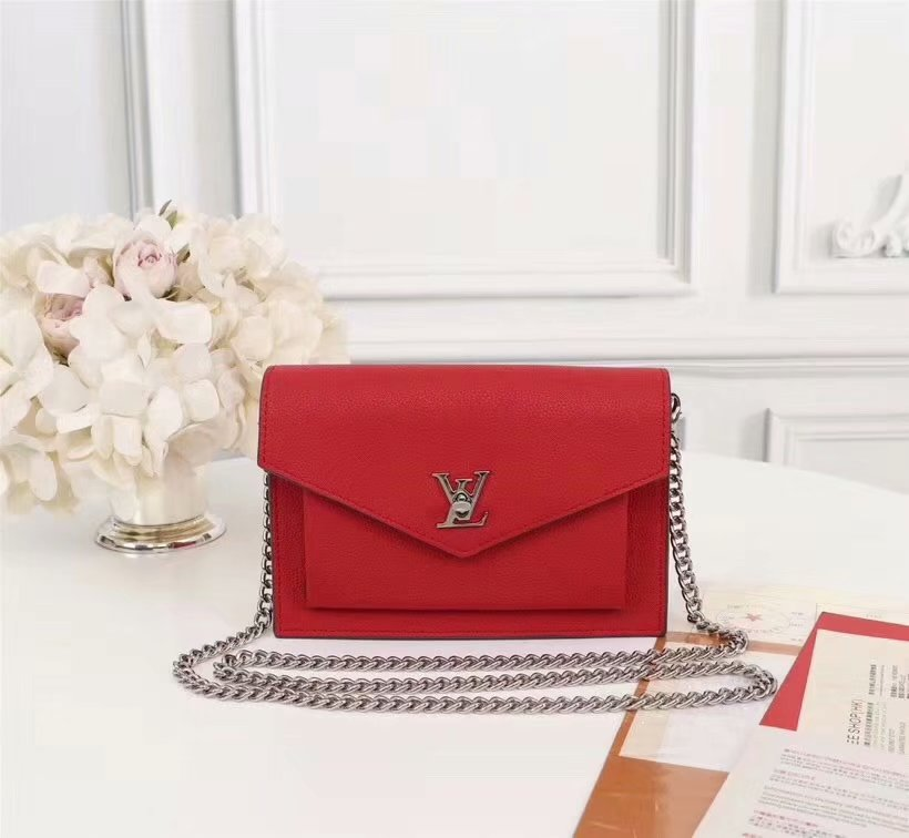 Copy Louis Vuitton M63471 Pochette Mylockme Chain Calf Leather Red