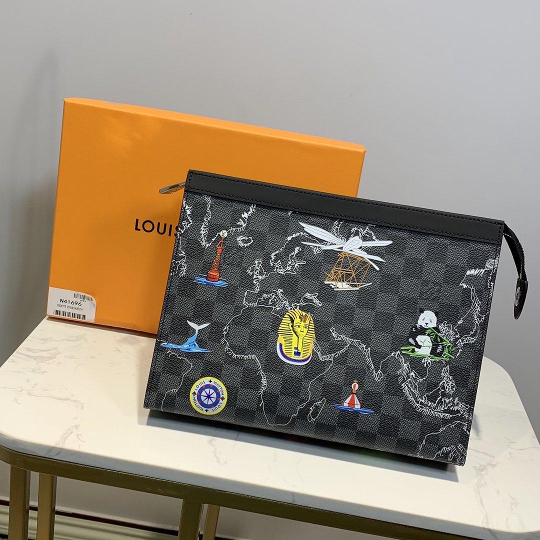 Copy Louis Vuitton N41696 Men Pochette Voyage PM