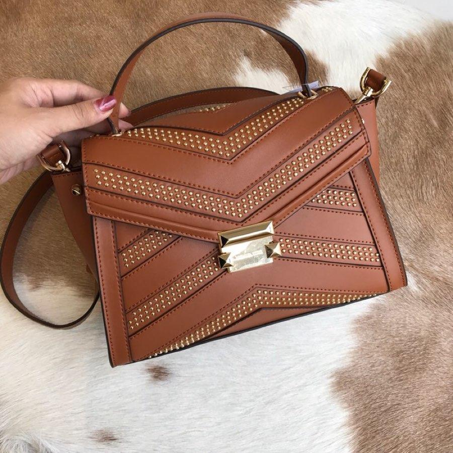 Copy Michael Kors Women Whitney Leather Shoulder Bag Caramel