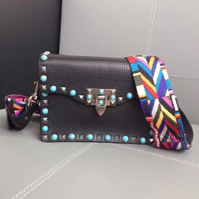 Copy Valentino Garavani Rockstud Cross Body Bag in Stampa Alce Textured Calfskin Black