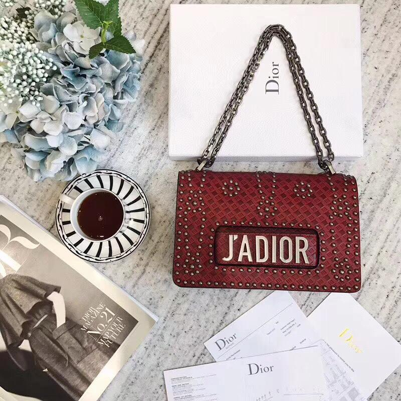 Dior J'adior Flap Bag in Red Studded Calfskin
