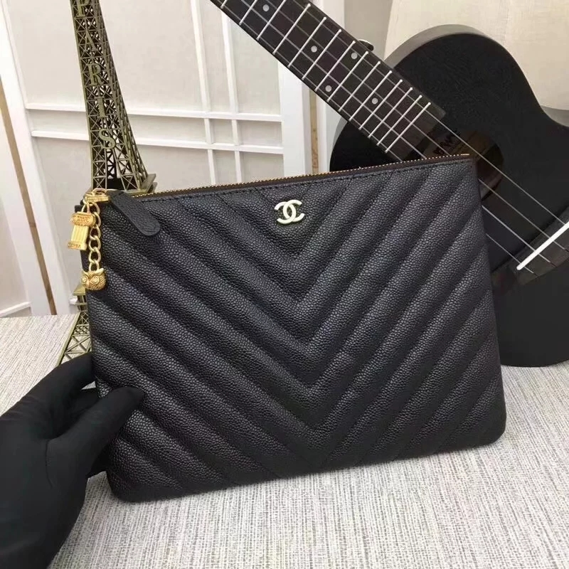Fake Best Chanel Pouch Grained Calfskin Gold-Tone Metal Black