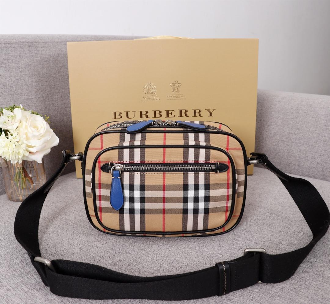 Fake Burberry 40743481 Men Vintage Check and Leather Crossbody Bag Blue