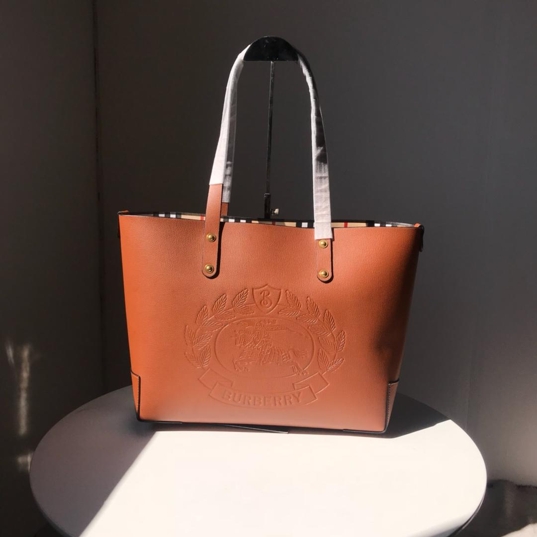 Fake Burberry 40801091 Small Embossed Crest Leather Women Tote Coffee