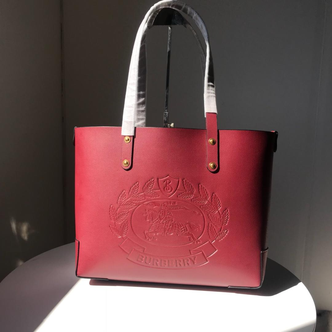 Fake Burberry 40801091 Small Embossed Crest Leather Women Tote Red