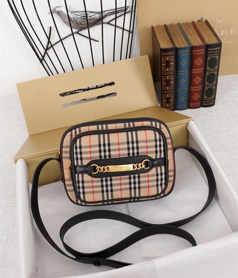 Fake Burberry The 1983 Check Link Camera Bag Calf Leather Black