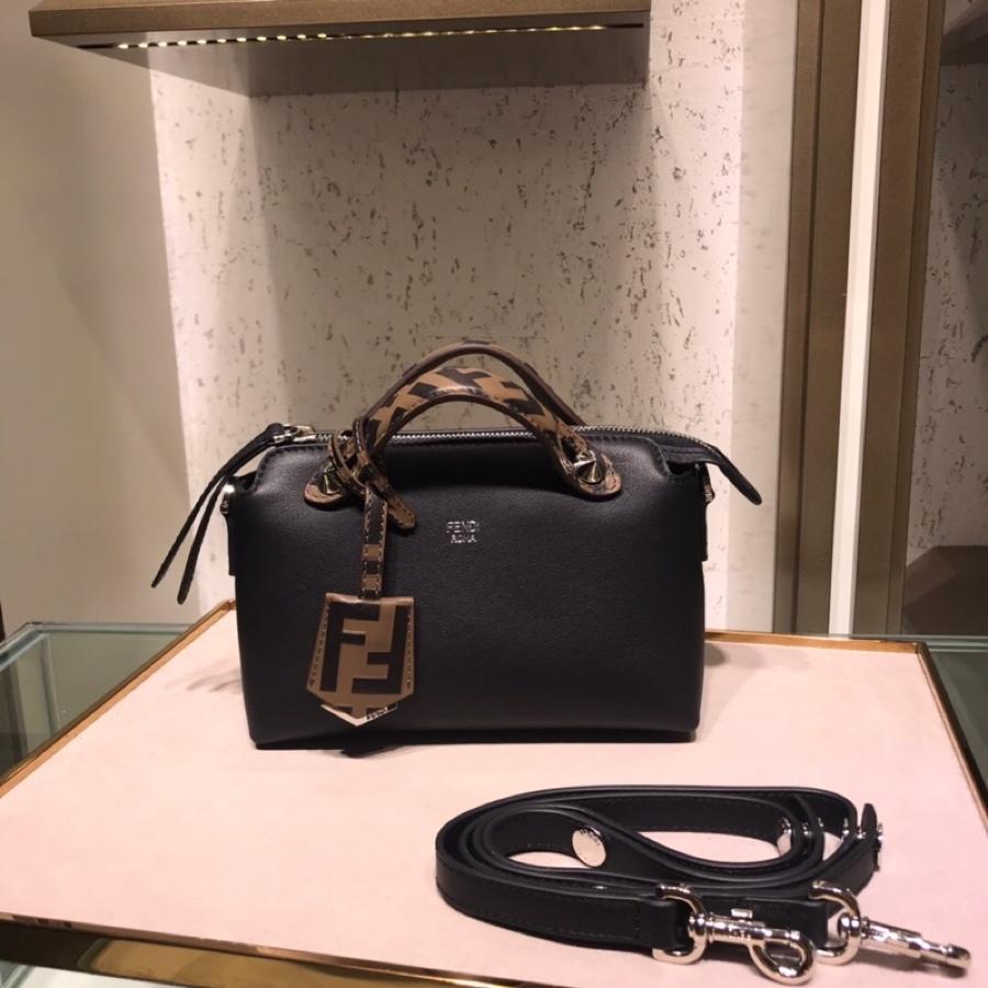 Fake Fendi By The Way Regular Exotic Black Leather Boston Bag 28cm and 20cm