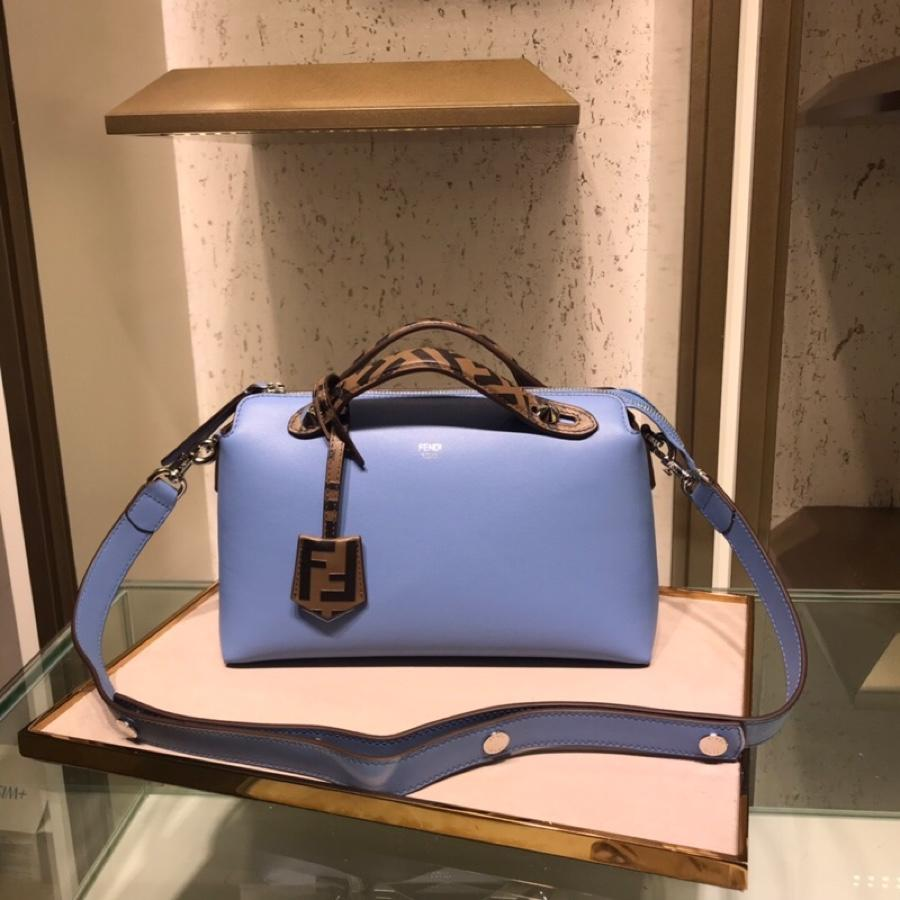 Fake Fendi By The Way Regular Exotic Blue Leather Boston Bag 28cm and 20cm