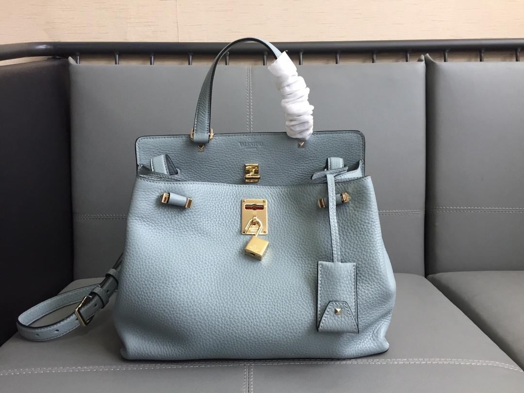 Fake Valentino 2018 New Women Tote Bag Calfskin Blue