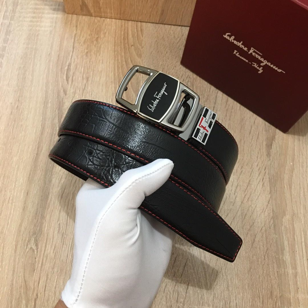 Ferragamo 046 Men Leather Reversible Belt With Silver Buckle