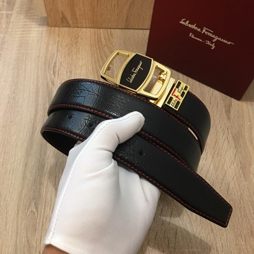 Ferragamo 047 Men Leather Reversible Belt With Gold Buckle