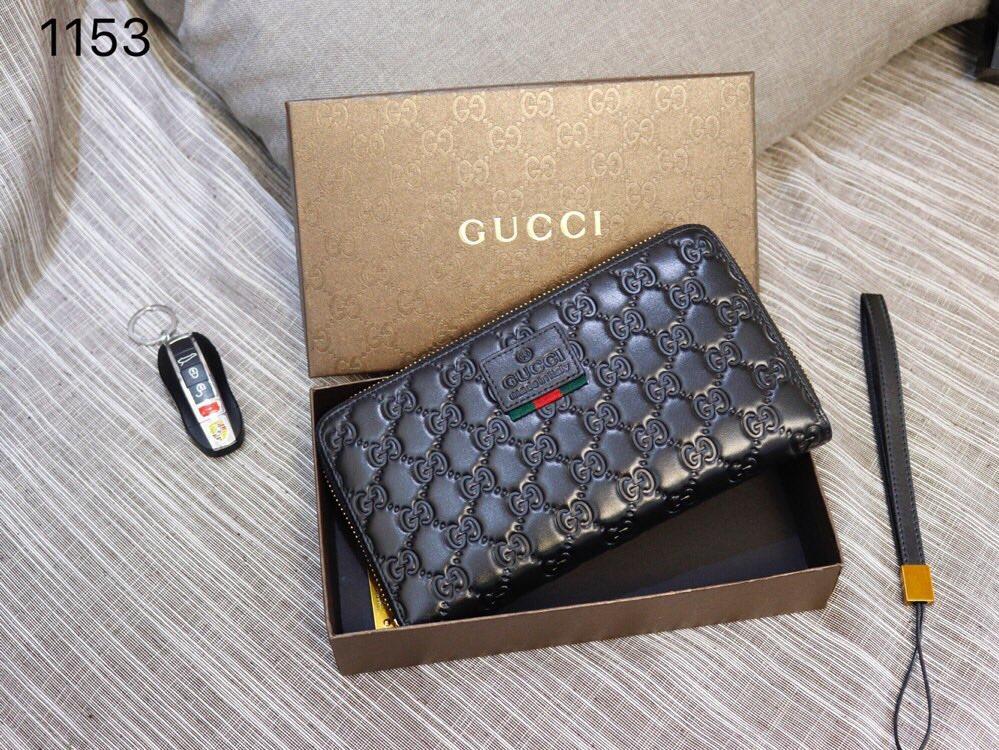Gucci 1153 Men Leather Zipper Clutch Bag Black