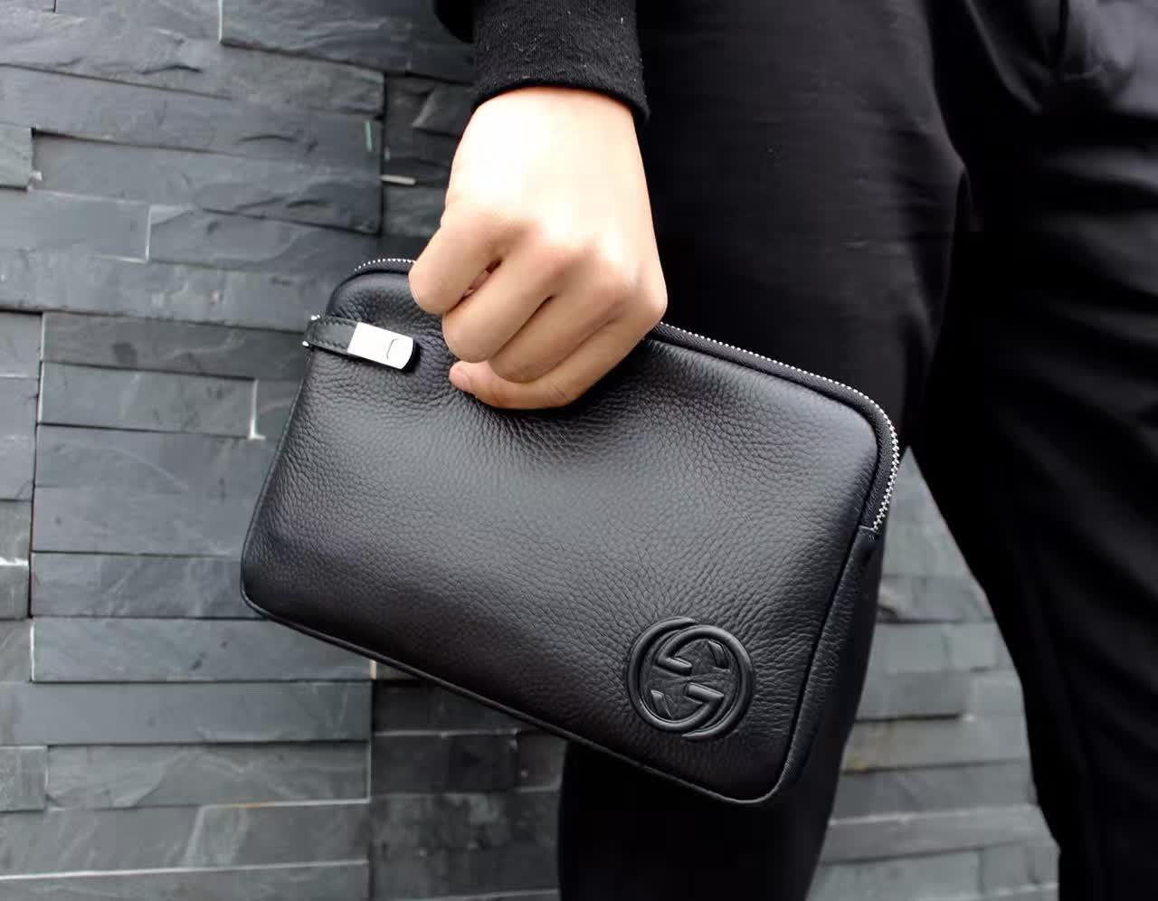 Gucci 118-5 Men Leather Clutch Bag Black
