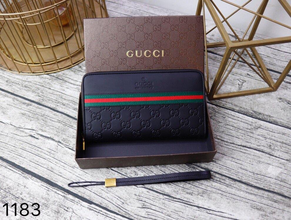 Gucci 1183 Men Leather Zipper Clutch Bag Black