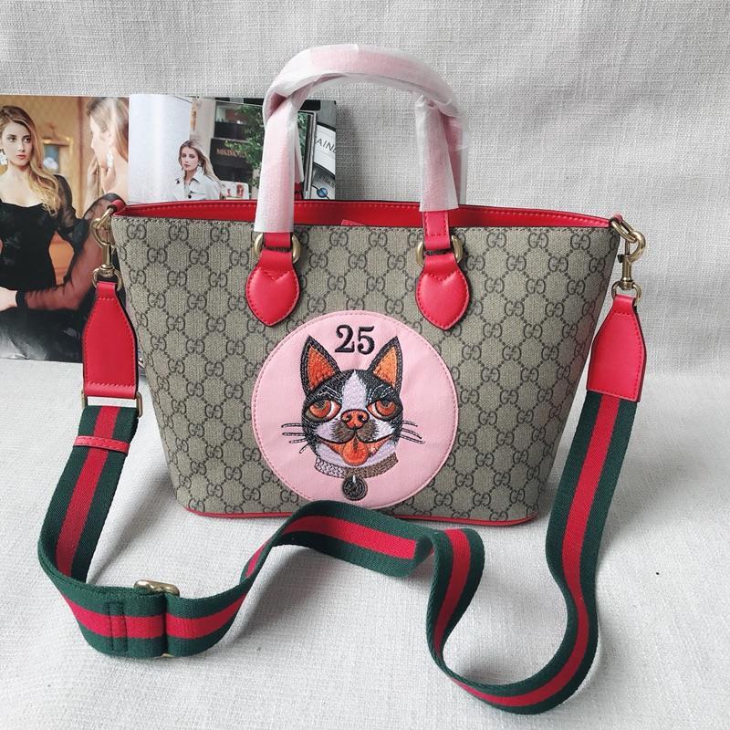 Gucci 473887 GG Supreme Bosco Tote Red