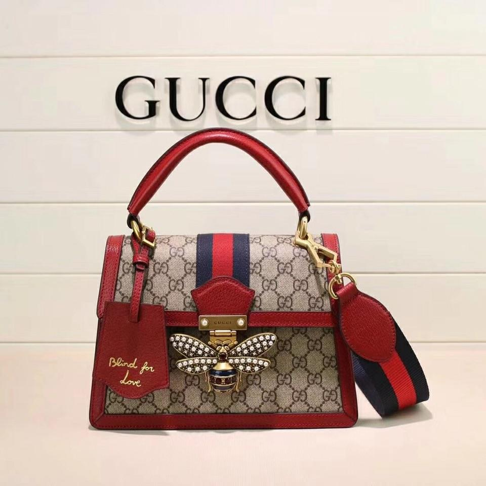 Gucci 476541 Queen Margaret GG Small Top Handle Bag Red