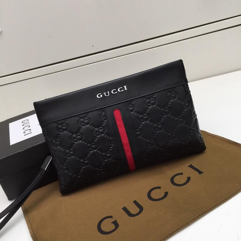 Gucci 517 Men Leather Clutch Bag Black