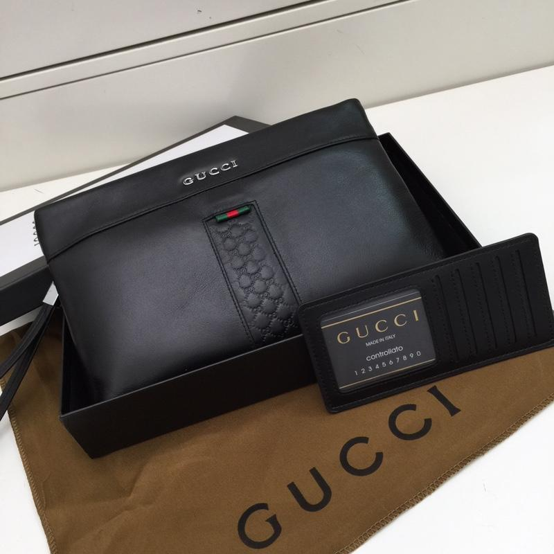 Gucci 6891112 Men Leather Clutch Bag Black