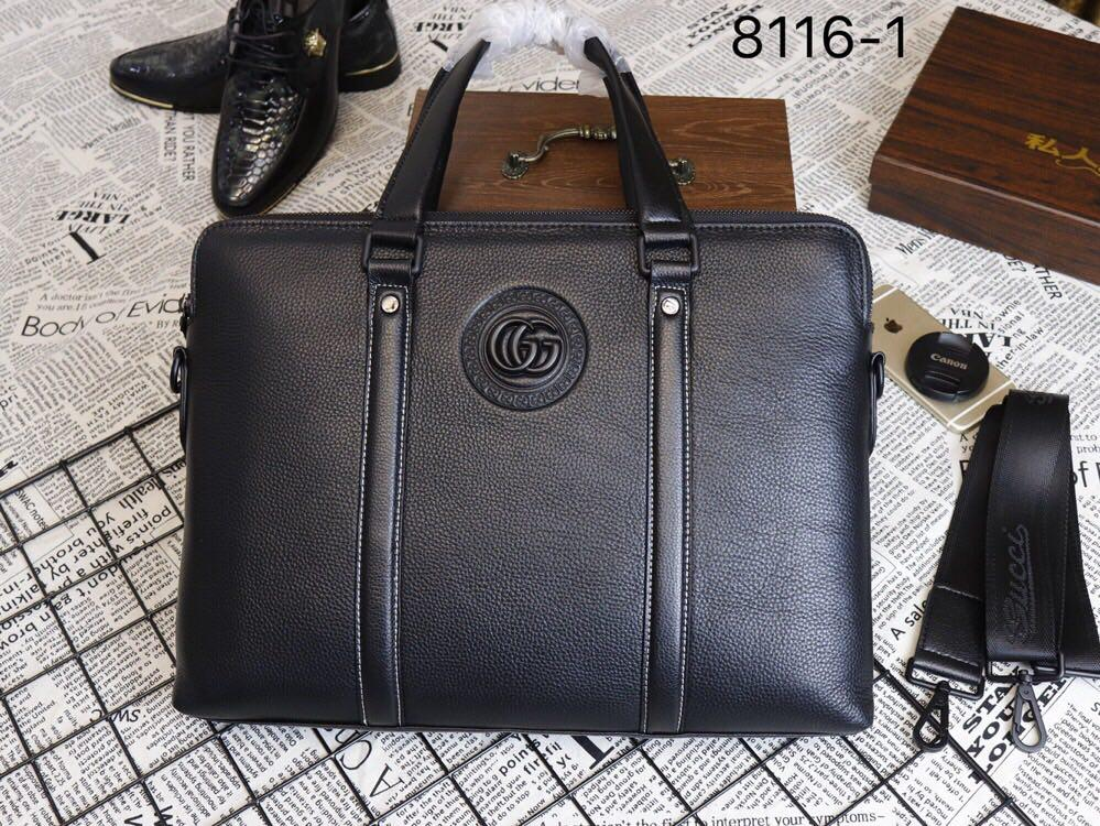 Gucci 8116-1 Men Leather Briefcase Bag Black