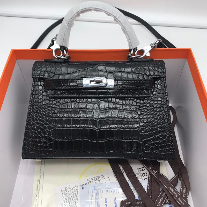 Hermes 22cm Kelly Bag Crocodile Stripe Handbag Black With Silver