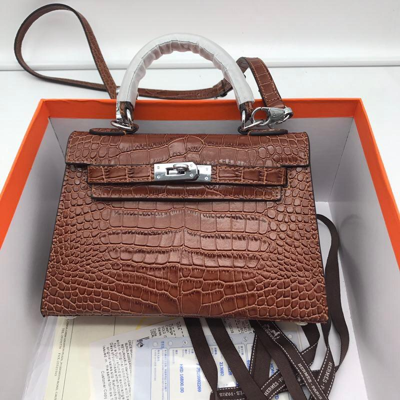 Hermes 22cm Kelly Bag Crocodile Stripe Handbag Coffee With Silver