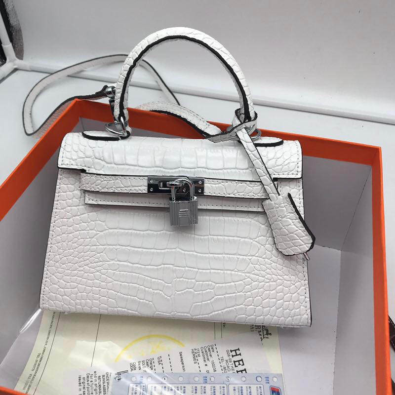 Hermes 22cm Kelly Bag Crocodile Stripe Handbag White With Silver