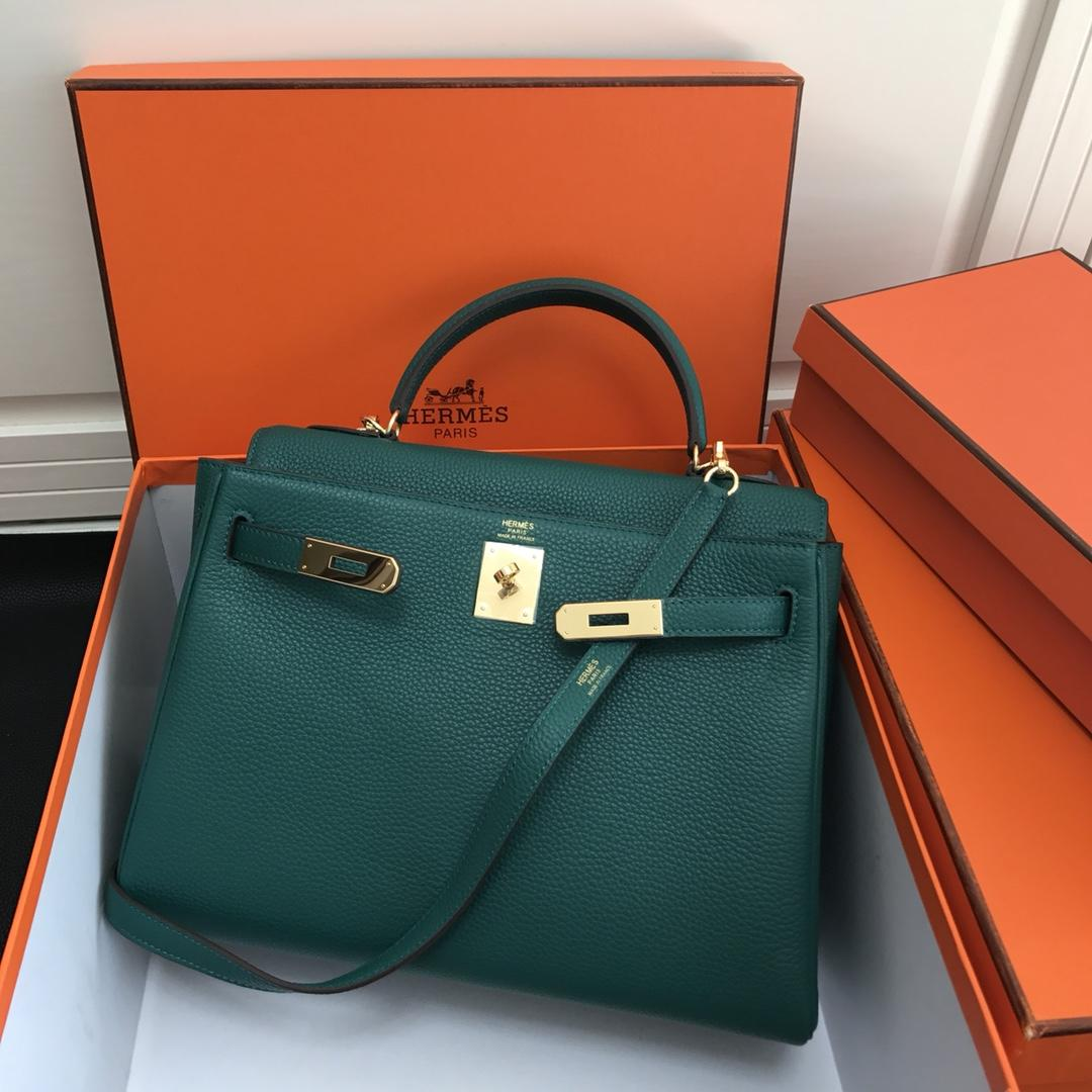 Original Copy Hermes 25cm Kelly Bag Togo Leather Handbag Aqua Green