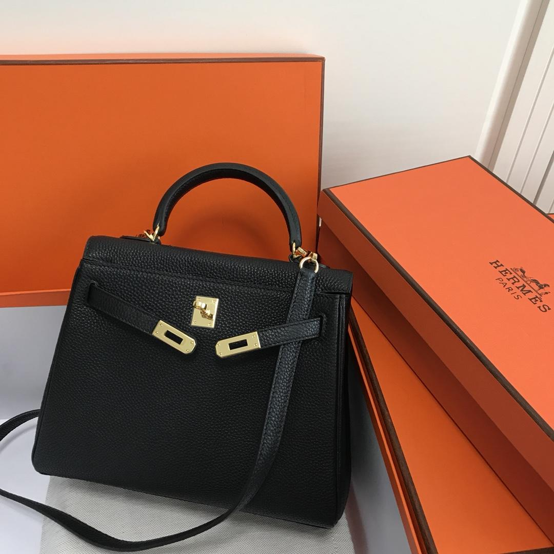 Original Copy Hermes 25cm Kelly Bag Togo Leather Handbag Black