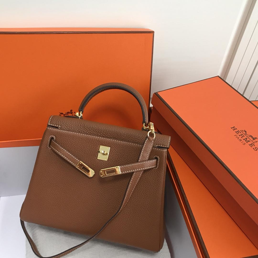 Original Copy Hermes 25cm Kelly Bag Togo Leather Handbag Coffee