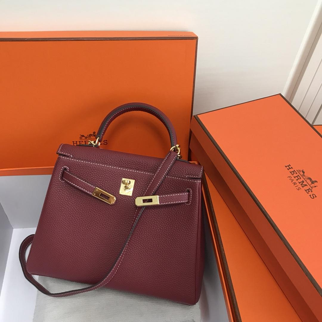Original Copy Hermes 25cm Kelly Bag Togo Leather Handbag Dark Red
