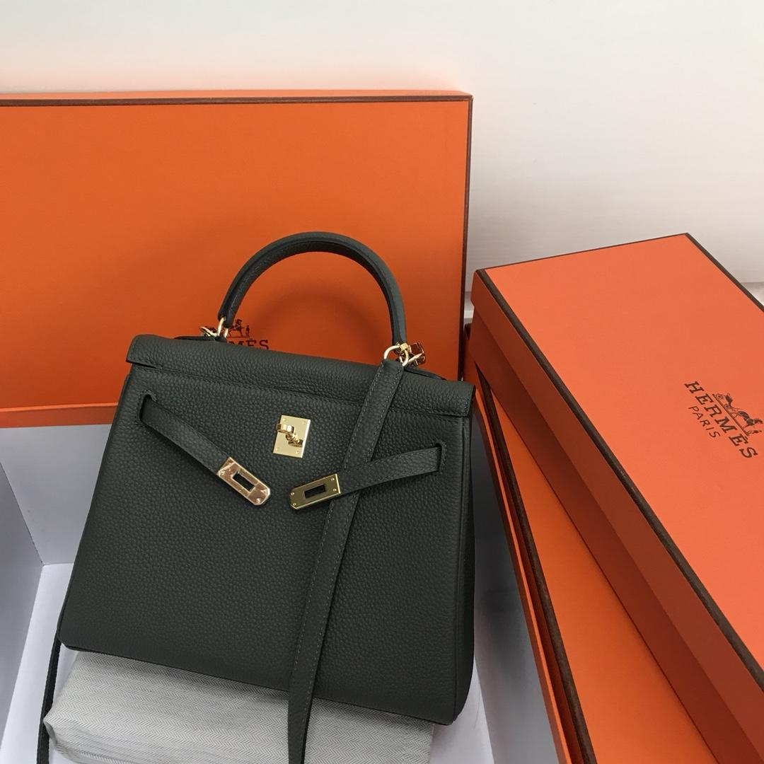 Original Copy Hermes 25cm Kelly Bag Togo Leather Handbag Fruit Green