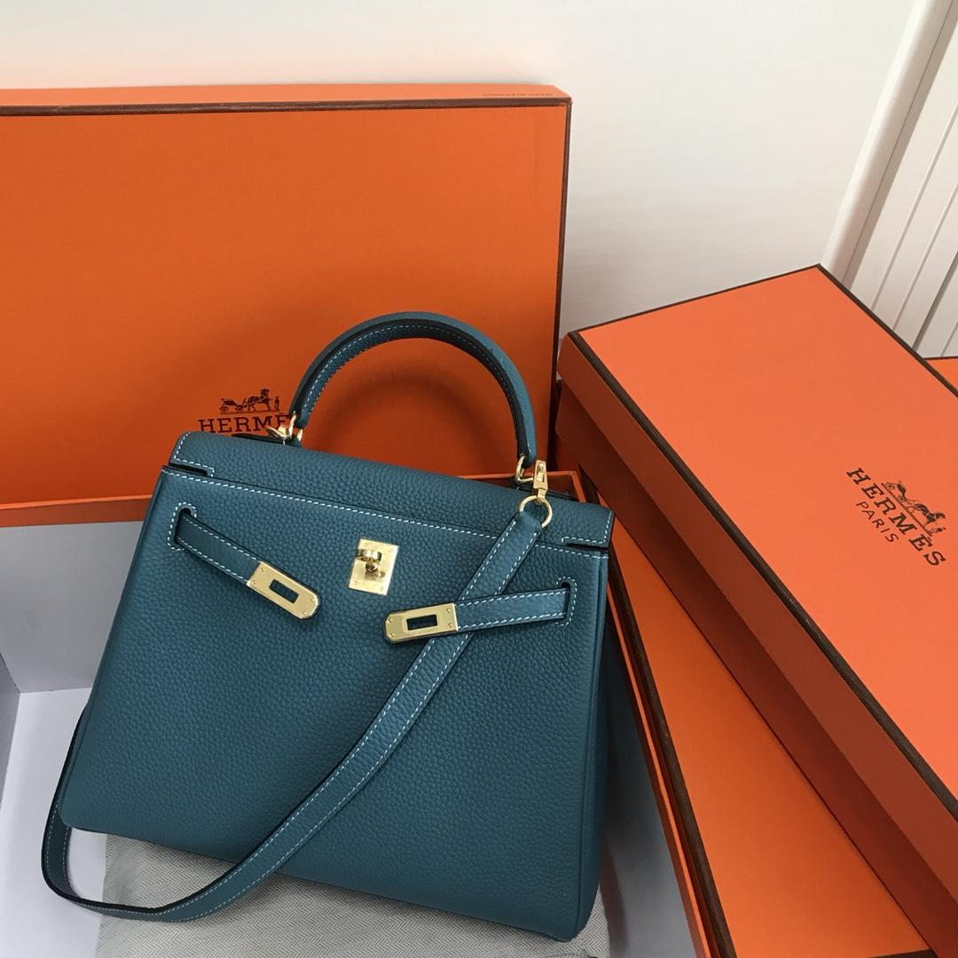 Original Copy Hermes 25cm Kelly Bag Togo Leather Handbag Light Blue
