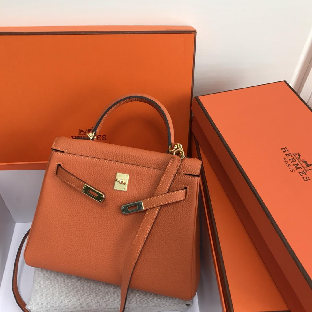 Original Copy Hermes 25cm Kelly Bag Togo Leather Handbag Orange