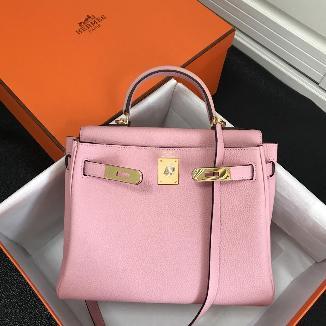 Hermes 25cm Kelly Bag Togo Leather Handbag Pink