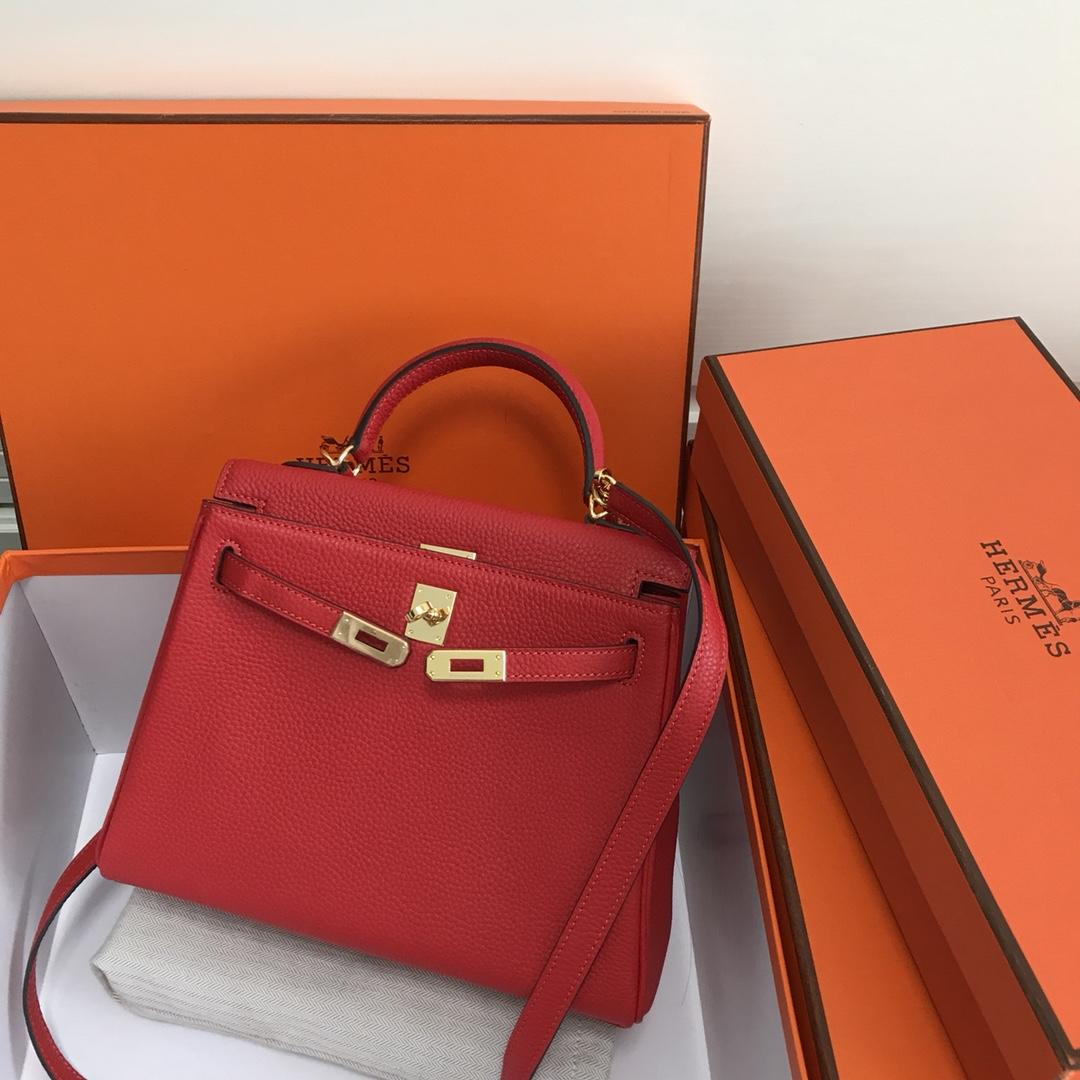 Original Copy Hermes 25cm Kelly Bag Togo Leather Handbag Red