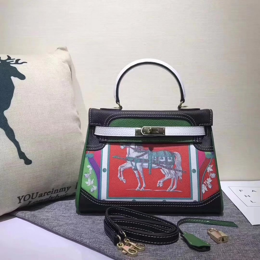 Hermes Kelly 28cm Horse Print Togo Leather Handbag Green