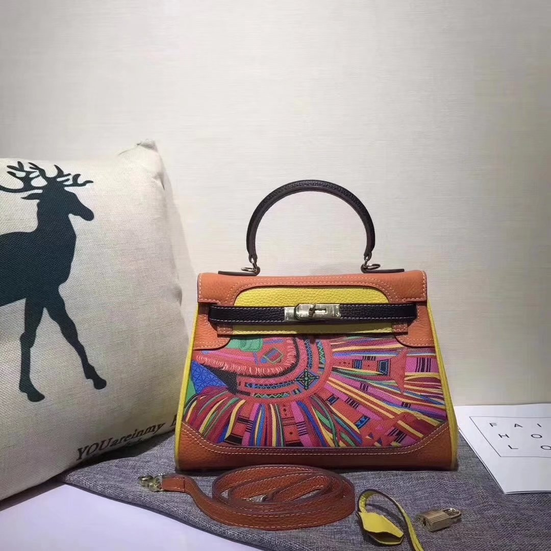 Hermes Kelly 28cm Horse Print Togo Leather Handbag Yellow