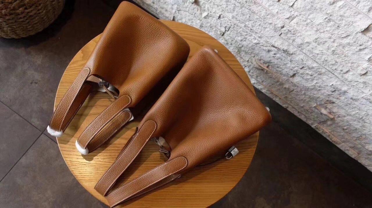 Hermes Picotin Lock Silver Leather Bag Light Coffee