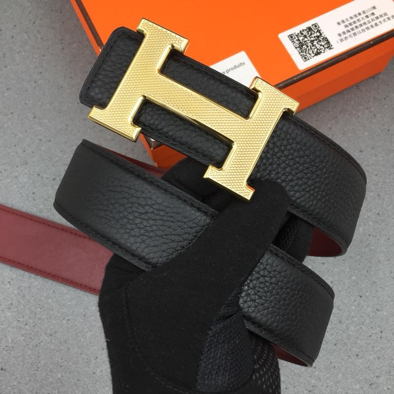 Hermes Reversible Leather Men Belt With Gold Buckle 023