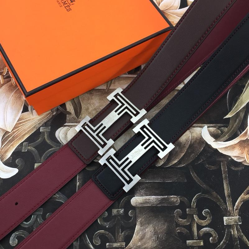 Hermes Reversible Leather Men Belt With Silver Buckle 022