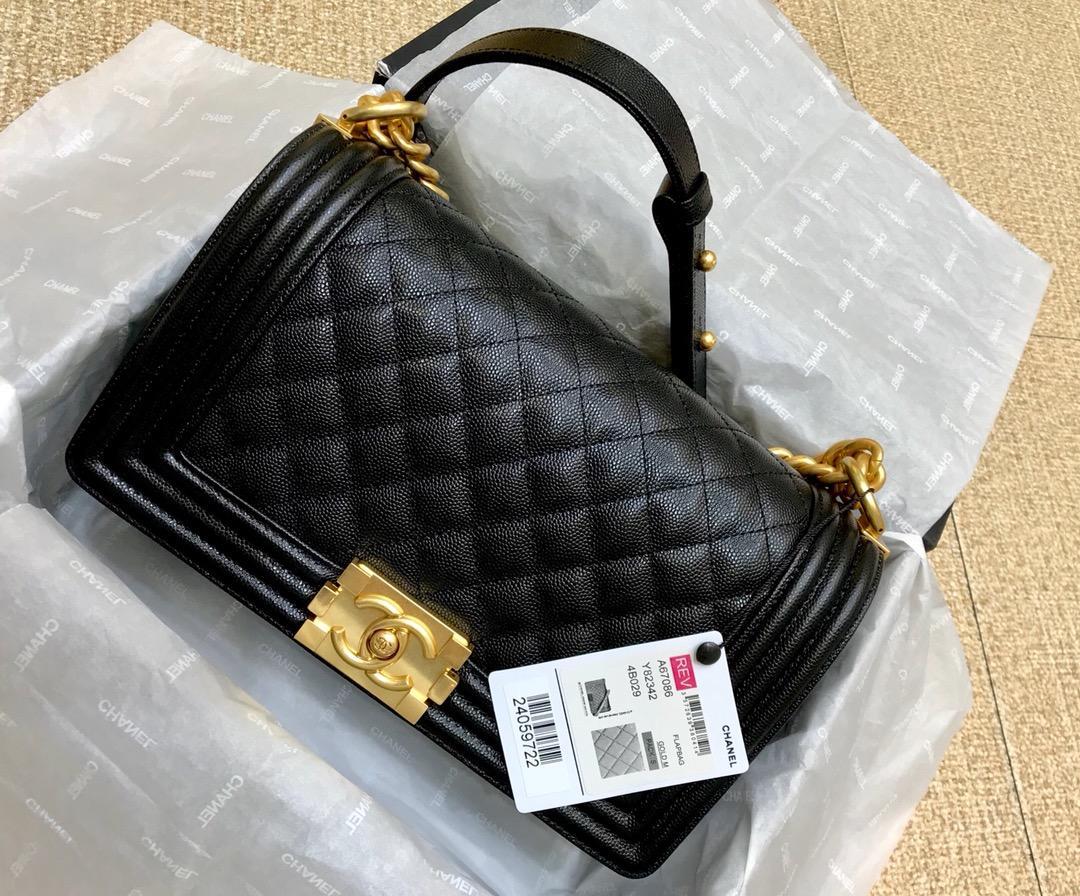 High Quality Chanel Boy Chanel Handbag Black Grained Calfskin Gold-Tone Metal