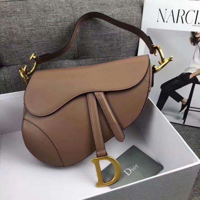 High Quality Dior Mini Saddle Bag in Khaki Calfskin