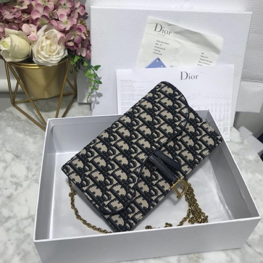 High Quality Dior Oblique Large Saddle Wallet on Chain Clutch in Blue