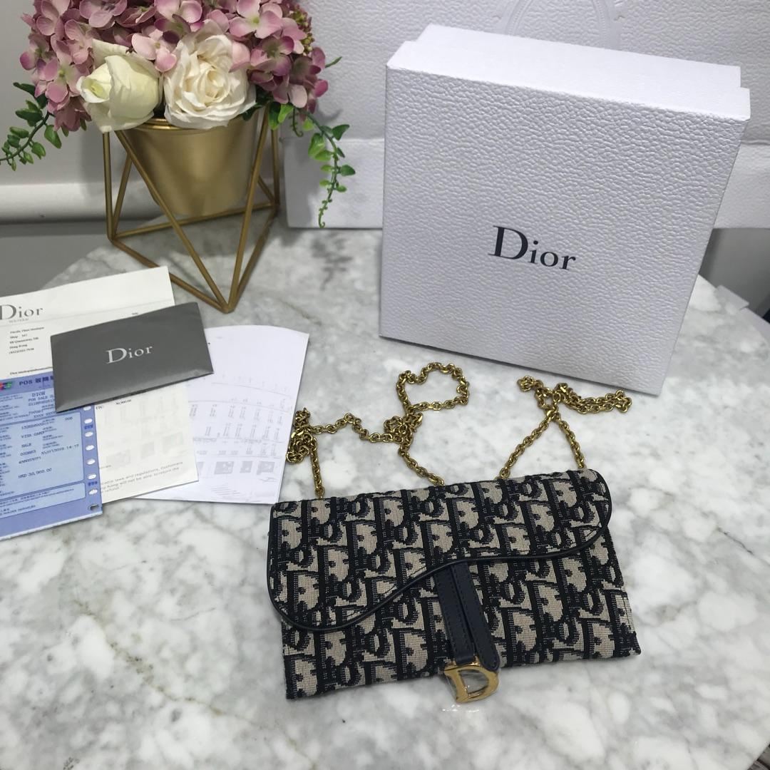 High Quality Dior Oblique Saddle Long Wallet with Flap in Blue
