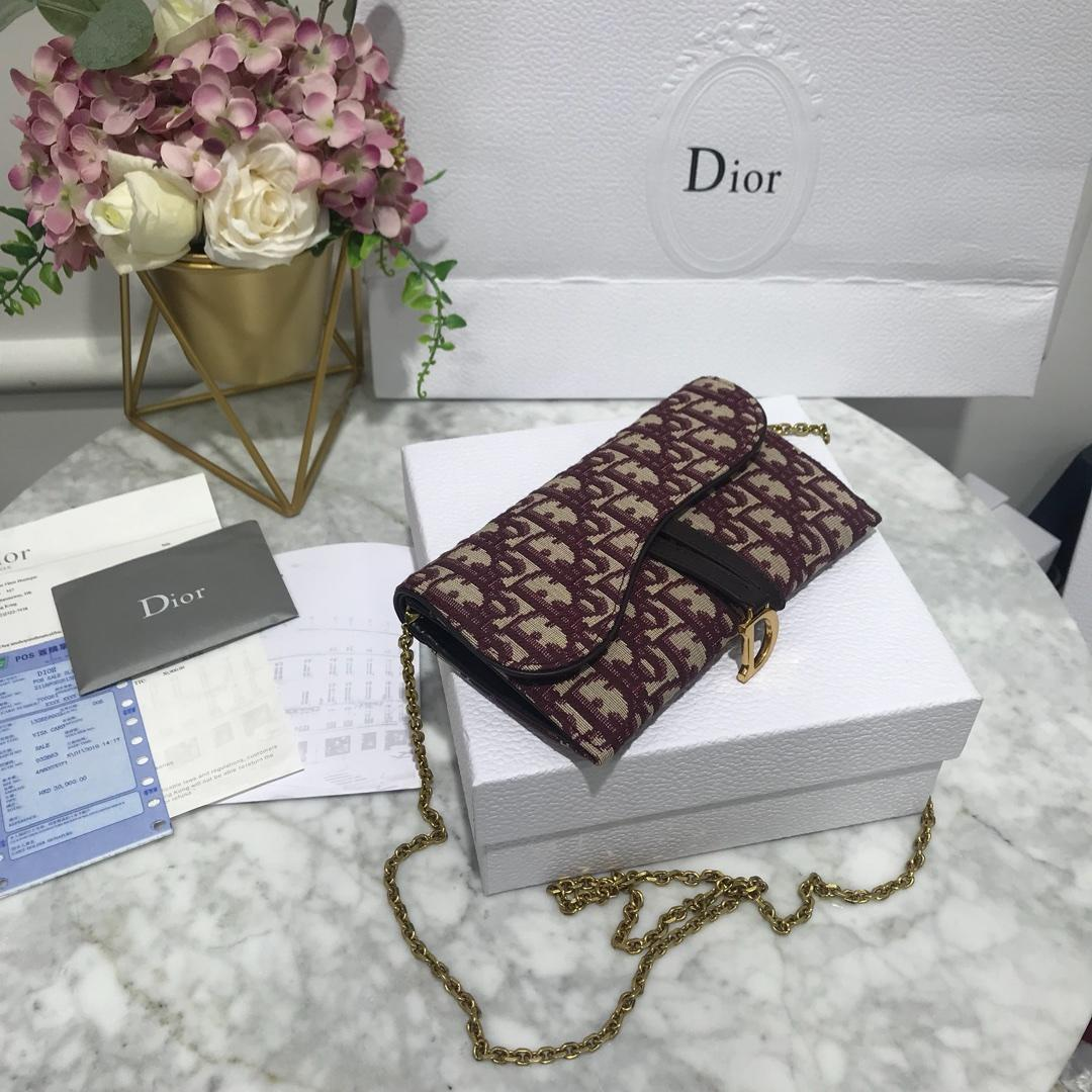 High Quality Dior Oblique Saddle Long Wallet with Flap in Burgundy