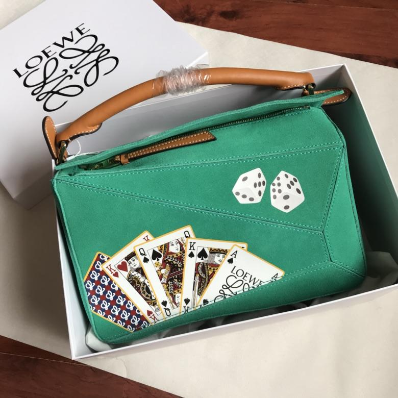 High Quality Loewe Puzzle Stripes Bag Multicolor Print Playing Cards Women Shoulder Bag