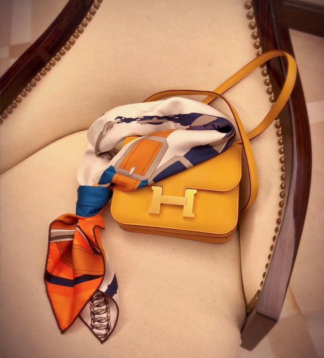 Hot SALE Hermes Constance 23cm and 18Cm Shoulder Bag Amber